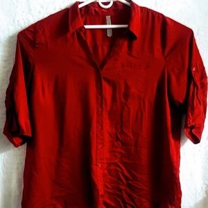 C#47 Penningtons Button Down Red Shirt